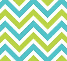 Zigzag (Chevron), Stripes - Green Blue White by sitnica