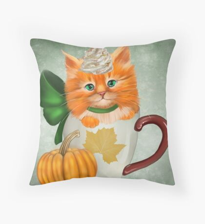 Pumpkin Spice Latte Cat Throw Pillow
