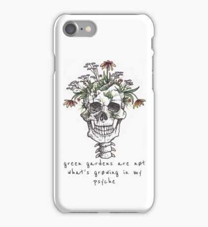 Green Gardens (with words) iPhone Case/Skin