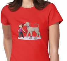 Stilysh girl with her dog Womens Fitted T-Shirt