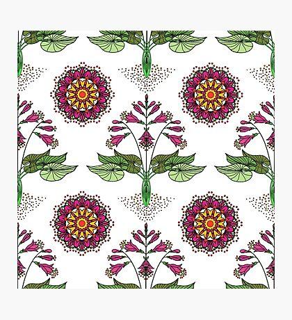 Floral Nouveau-Magenta Photographic Print