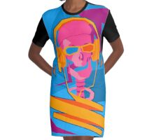 It is a Skeleton with Headphones and also 3D Glasses Graphic T-Shirt Dress