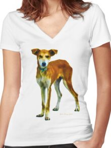 Red Dog Women's Fitted V-Neck T-Shirt