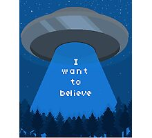 I Want To Believe - UFO pixel art Photographic Print