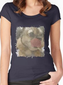 This pug is freaking excited Women's Fitted Scoop T-Shirt