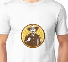 Cowboy Thumbs Up Sunburst Circle Woodcut Unisex T-Shirt