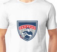 Flag Football QB Player Running Stars Crest Retro Unisex T-Shirt