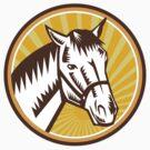 White Horse Head Sunburst Circle Woodcut by patrimonio