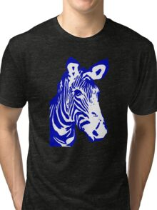 Zebra - Pop Art Graphic T-Shirt (blue) Tri-blend T-Shirt