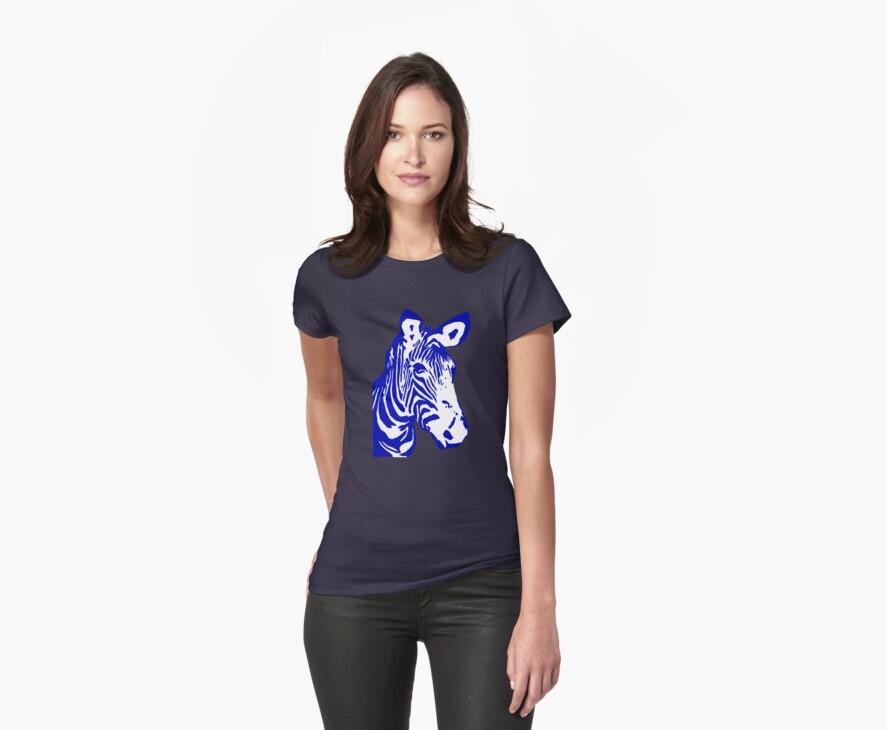 Zebra - Pop Art Graphic T-Shirt (blue) by BlueShift