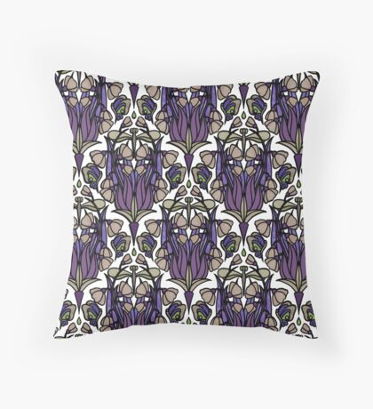 Dragonfly Nouveau- Mauve Throw Pillow