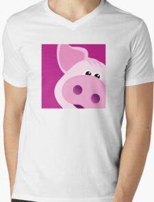 Happy Piggy - Graphic Tee Mens V-Neck T-Shirt