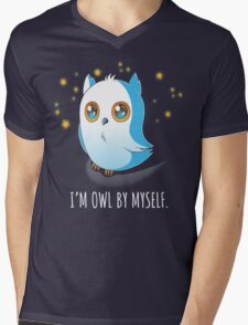 Owl by Myself Mens V-Neck T-Shirt