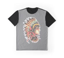 Traditional Native American Pin Up Girl HeadressTattoo design Graphic T-Shirt