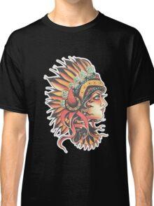 Traditional Native American Pin Up Girl HeadressTattoo design Classic T-Shirt