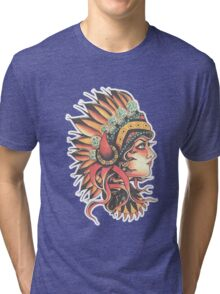 Traditional Native American Pin Up Girl HeadressTattoo design Tri-blend T-Shirt