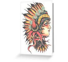 Traditional Native American Pin Up Girl HeadressTattoo design Greeting Card