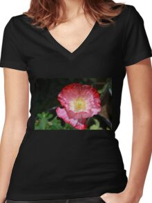 Pinky Poppy Women's Fitted V-Neck T-Shirt