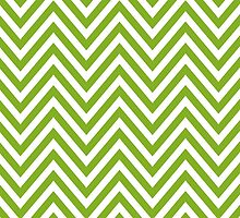 Zigzag (Chevron), Stripes, Lines - White Green by sitnica