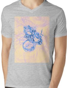 Colorful watercolor painting of roses in a terrarium.  Mens V-Neck T-Shirt