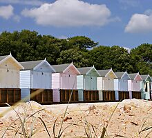 Beautiful Pastel Coloured Beach Huts  by ScenicViewPics