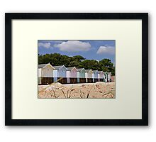Beautiful Pastel Coloured Beach Huts  Framed Print