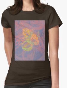 Colorful watercolor painting of roses in a terrarium.  Womens Fitted T-Shirt
