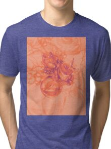 Colorful watercolor painting of roses in a terrarium.  Tri-blend T-Shirt