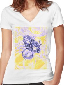 Colorful watercolor painting of roses in a terrarium.  Women's Fitted V-Neck T-Shirt