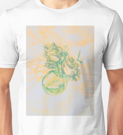 Colorful watercolor painting of roses in a terrarium.  Unisex T-Shirt