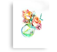 Colorful watercolor painting of roses in a terrarium.  Canvas Print