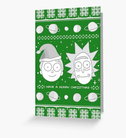 Human Christmas (white print) Greeting Card