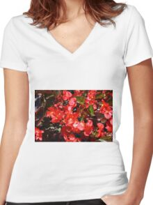 Natural texture with small red flowers Women's Fitted V-Neck T-Shirt