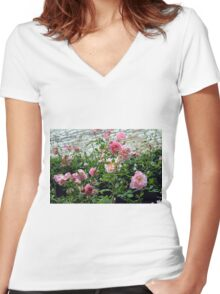 Pink gentle roses in the garden Women's Fitted V-Neck T-Shirt