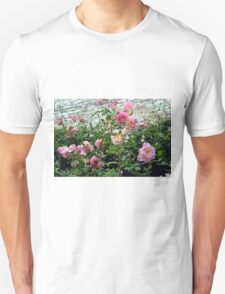 Pink gentle roses in the garden Unisex T-Shirt