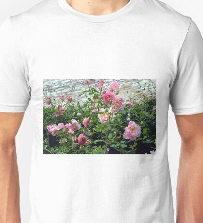 Pink gentle roses in the garden Unisex T-Shirt