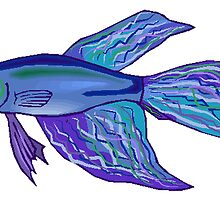 Blue Betta Fish by kwg2200