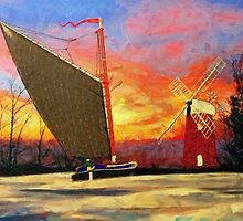 A digital painting of a Norfolk Wherry and Windmill by Dennis Melling