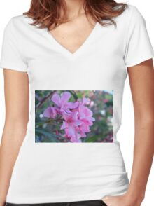 Purple delicate flowers Women's Fitted V-Neck T-Shirt