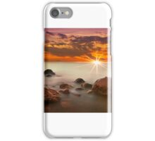 Red Sunset on foggy rocks iPhone Case/Skin