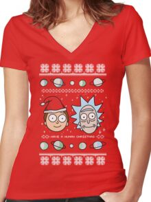 Human Christmas (color) Women's Fitted V-Neck T-Shirt