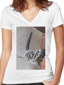 antique ancient walls of castle Women's Fitted V-Neck T-Shirt
