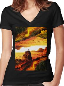Lava Isolation  Women's Fitted V-Neck T-Shirt
