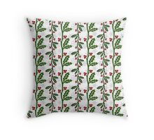 Seamless christmas holly pattern Throw Pillow