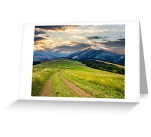 Winter in mountains meets spring in valley Greeting Card