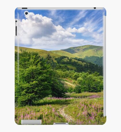 path among purple flowers up to the mountains iPad Case/Skin