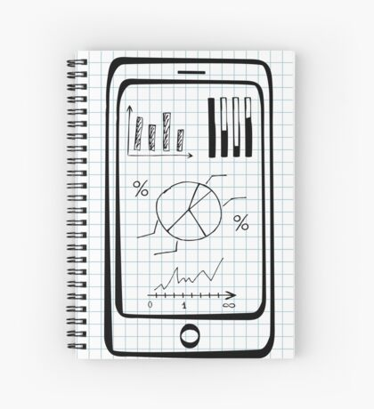 Doodle hand drawn smart phone Spiral Notebook