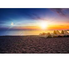 calm sunset at sea beach with boats Photographic Print