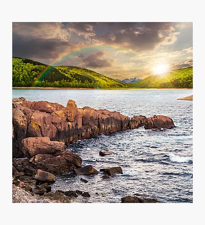 mountain lake with rocky shore at sunset Photographic Print