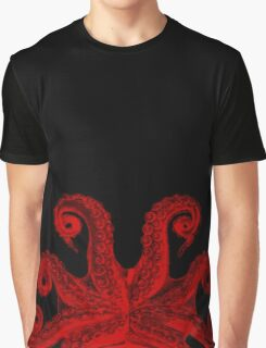 Red Vintage Octopus Tentacles Illustration Graphic T-Shirt